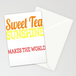 """Sweet Tea Sunshine & Pecan Pie Makes The World A Better Place"" tee design. Makes a unique gift too! Stationery Cards"