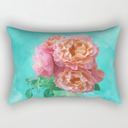 Pink Rose Bouquet in a terracotta vase Rectangular Pillow