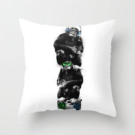 Monkey Music Retro Boombox. Throw Pillow