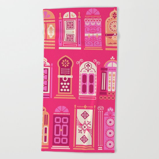 Moroccan Doors – Pink Palette Beach Towel