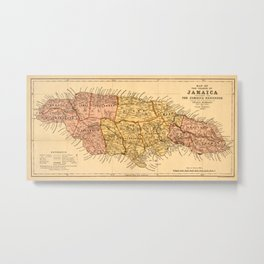 Map Of Jamaica 1893 Metal Print