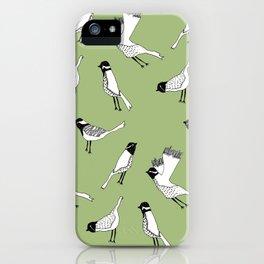 Bird Print - Olive Green iPhone Case