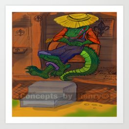 The Cajun Gator (Flat Color Version) by: Henry Wardsworth aka Concepts_By_Henry Art Print