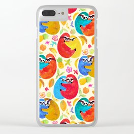 Happy Huggy Fruit Loving Sloths Clear iPhone Case