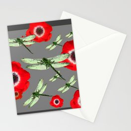 EMERALD GREEN DRAGONFLIES & RED POPPY FLOWERS GREY ART Stationery Cards