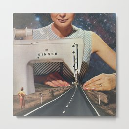 This is how a road gets made - Sewing Machine Metal Print