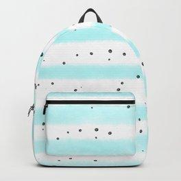 Modern pastel teal black watercolor splatters stripes Backpack