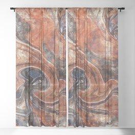 Orange marble watercolor Sheer Curtain