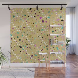 Terrazzo Seamless pattern abstract texture, traditional geometric flooring material, chips of marble granite. pastel colors yellow beige background  Wall Mural