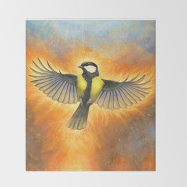 Phoenix tit bird Throw Blanket