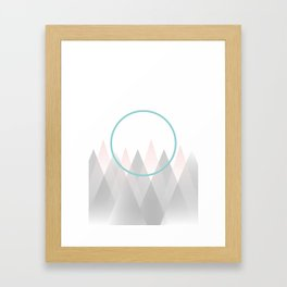Minimal Abstract Graphic Mountains Circle Blue Pink Gray Framed Art Print