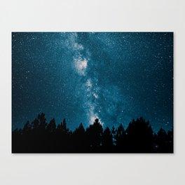 Blue Milky Way At Night Pine Tree Silhouette Stars Night Time Canvas Print