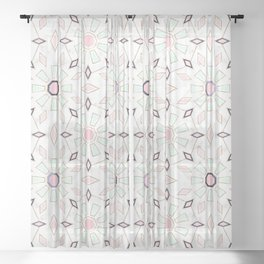 Modern gold Moroccan geometric flower marble image Sheer Curtain