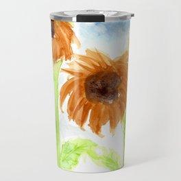 Watercolor  3 Sunflowers Travel Mug