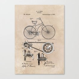 patent Bicycle 1890 Rice Canvas Print