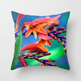 Blooming Crocosmia Throw Pillow