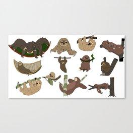 Sloth Party Canvas Print