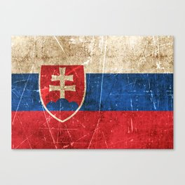 Vintage Aged and Scratched Slovakian Flag Canvas Print