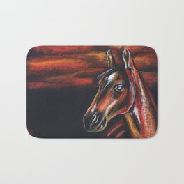 Red horse_Pastel drowing Bath Mat