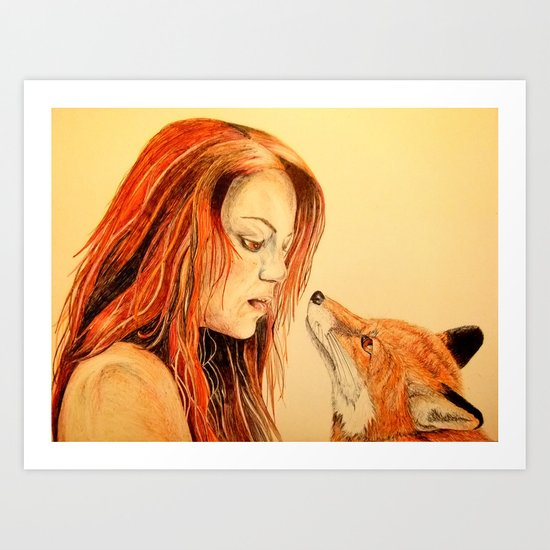 The Girl and the Fox Art Print