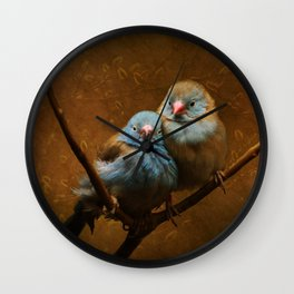 Male and Female Cordon Bleu Canaries Wall Clock
