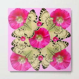 PINK ON PINK HOLLYHOCK FLORAL & YELLOW-BLACK BUTTERFLY Metal Print