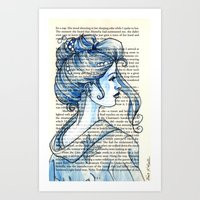 geisha Art Prints featuring Geisha by Karen Hallion Illustrations