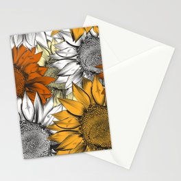 Beautiful pattern from hand drawn sunflowers Stationery Cards