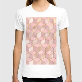 PINK CHAMPAGNE GRADIENT CUBE PATTERN (Gold Lined) T-shirt