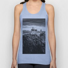The Castle on the Mountain (Black and White) Unisex Tank Top