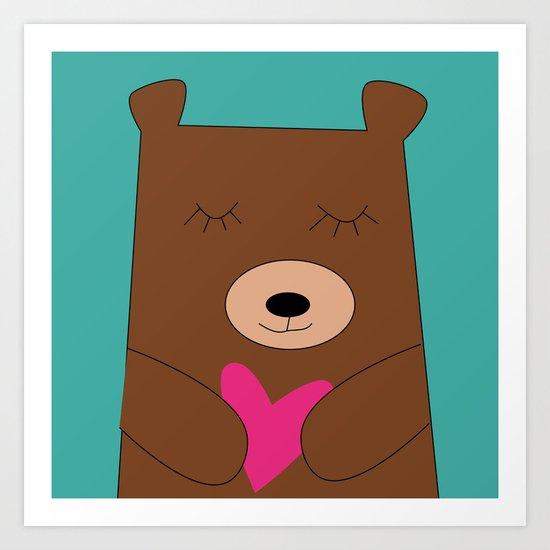 Bear in love Teal Art Print