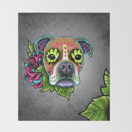 Boxer in White Fawn - Day of the Dead Sugar Skull Dog Throw Blanket