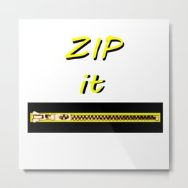 Zip it Black Yellow jGibney The MUSEUM Gifts Metal Print