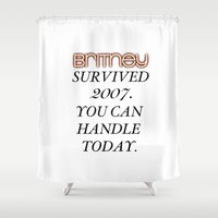 britney spears Shower Curtains featuring Britney Survived, Blackout. by eriicms