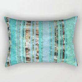 Blue & Wood Rectangular Pillow