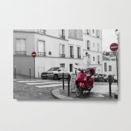 Red Vespa in Paris Metal Print