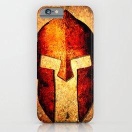 Spartan Helmet On Rust Background - Molon Labe iPhone Case