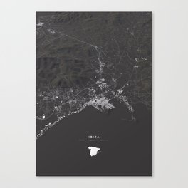 Ibiza City Map  Canvas Print