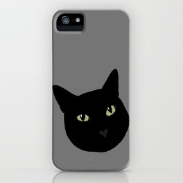 can I pet your cat? no. black cat portrait iPhone Case