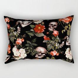 Floral and Skull Dark Pattern Rectangular Pillow