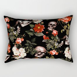 Floral and Skull Dark Pattern Rectangular Pillow