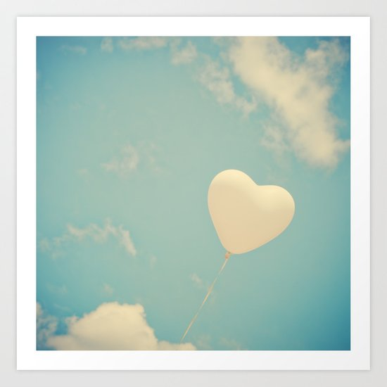 Nostalgic Love, Vintage Heart Balloon  Art Print