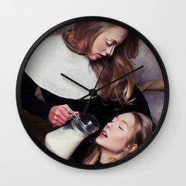 2 girls, 1 milk Wall Clock