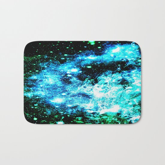 Chaotic Space :  gaLAxy Turquoise Aqua Gray Bath Mat