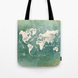 world map 151 green white #worldmap #map Tote Bag