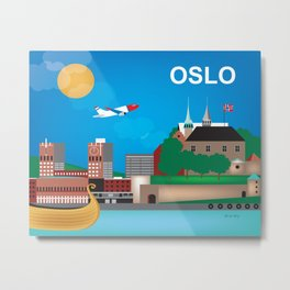 Oslo, Norway - Skyline Illustration by Loose Petals Metal Print