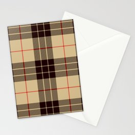 Tan Tartan with Black and Red Stripes Stationery Cards