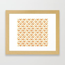 Red Fox & Hearts Pattern Framed Art Print