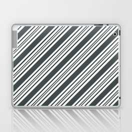 PPG Night Watch Pewter Green and Dark Green Thick and Thin Angled Lines - Stripes Laptop & iPad Skin