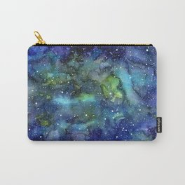 Space Galaxy Blue Green Watercolor Nebula Painting Carry-All Pouch
